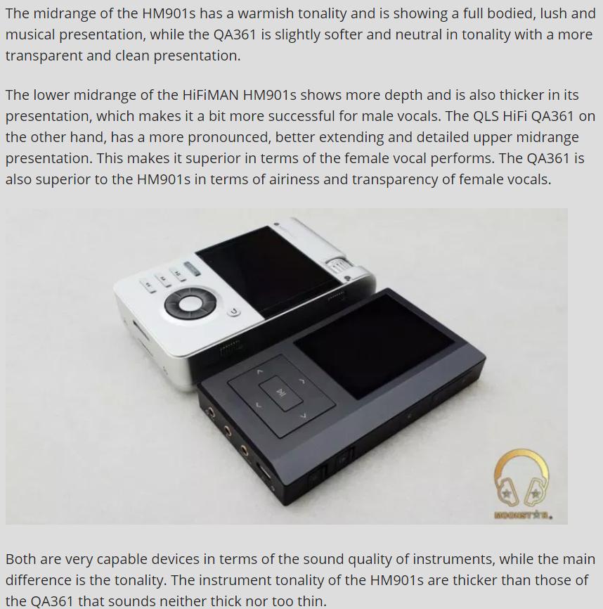 一个土耳其客户对QA361的评论,里面有与SONY WM1A 及HM901的对比评论。